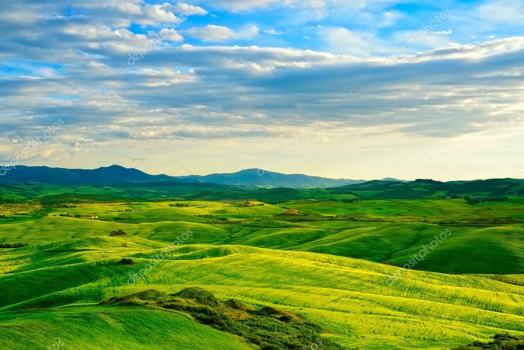 Фотообои Tuscany, rural sunset landscape. Countryside farm, white road an