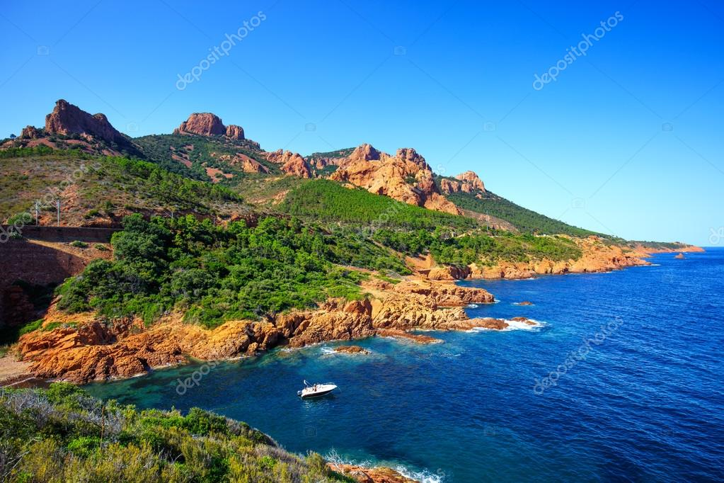 Esterel rocks beach coast and sea. Cannes Saint Raphael Cote Azu