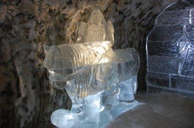 Ice sculpture at underground permafrost museum at Yakutsk Russia