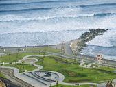 záběr zelené pobřeží pláže v lima-peru
