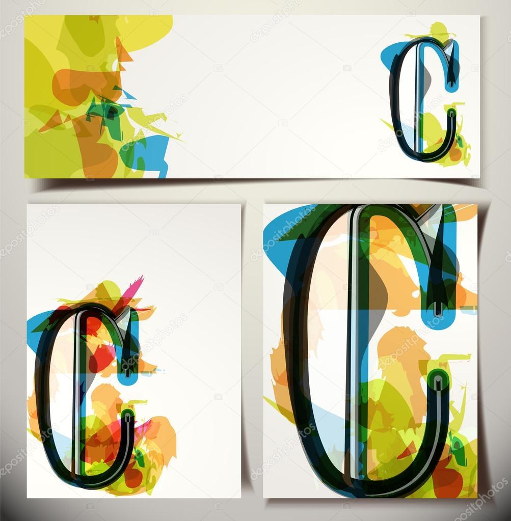 Carte De Voeux Artistique Lettre C Image Vectorielle Aroas
