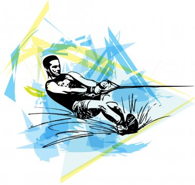Water skiing illustration