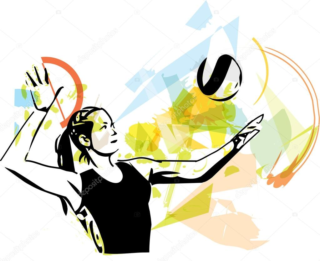 Abstract Design Of A Beach Volleyball Player Vector Image: Illustration Of Volleyball Player Playing