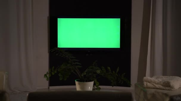 Zelená televizní obrazovka na pozadí sofa close-up.