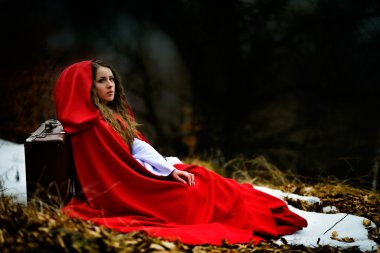 beautiful woman with red cloak and suitcase