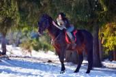Fotografia cavallo di guida della giovane donna allaperto