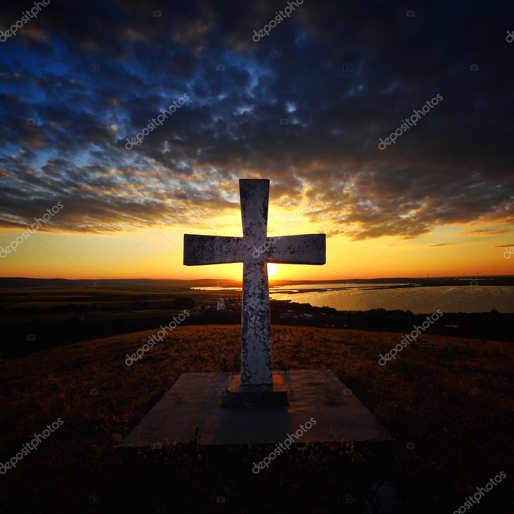 cross in the yard of Saon monastery, Romania