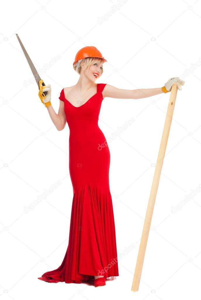 Красивая блондинка в красном платье 2
