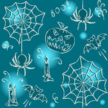 Halloween hand drawn seamless pattern with spiders clip art vector