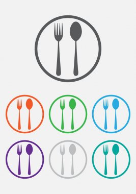 Fork and spoon icon - restaurant sign. Round circle buttons with frame