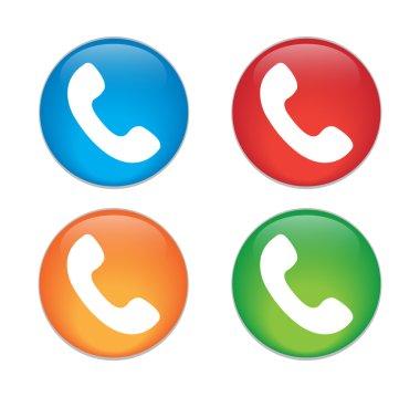 Telephone receiver vector icon. phone icon. Glass Button Icon Set