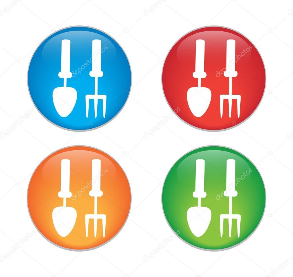 Hands holding gardening supplies. Gardening tools. Glass Button Icon Set