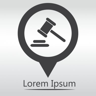 Hammer judge icon. gavel law legal hammer. icon map pin