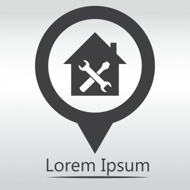 Home repair icon, icon map pin