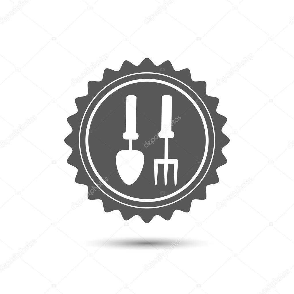 Emblem Medaille Hände halten Gartenbedarf Klassische flache