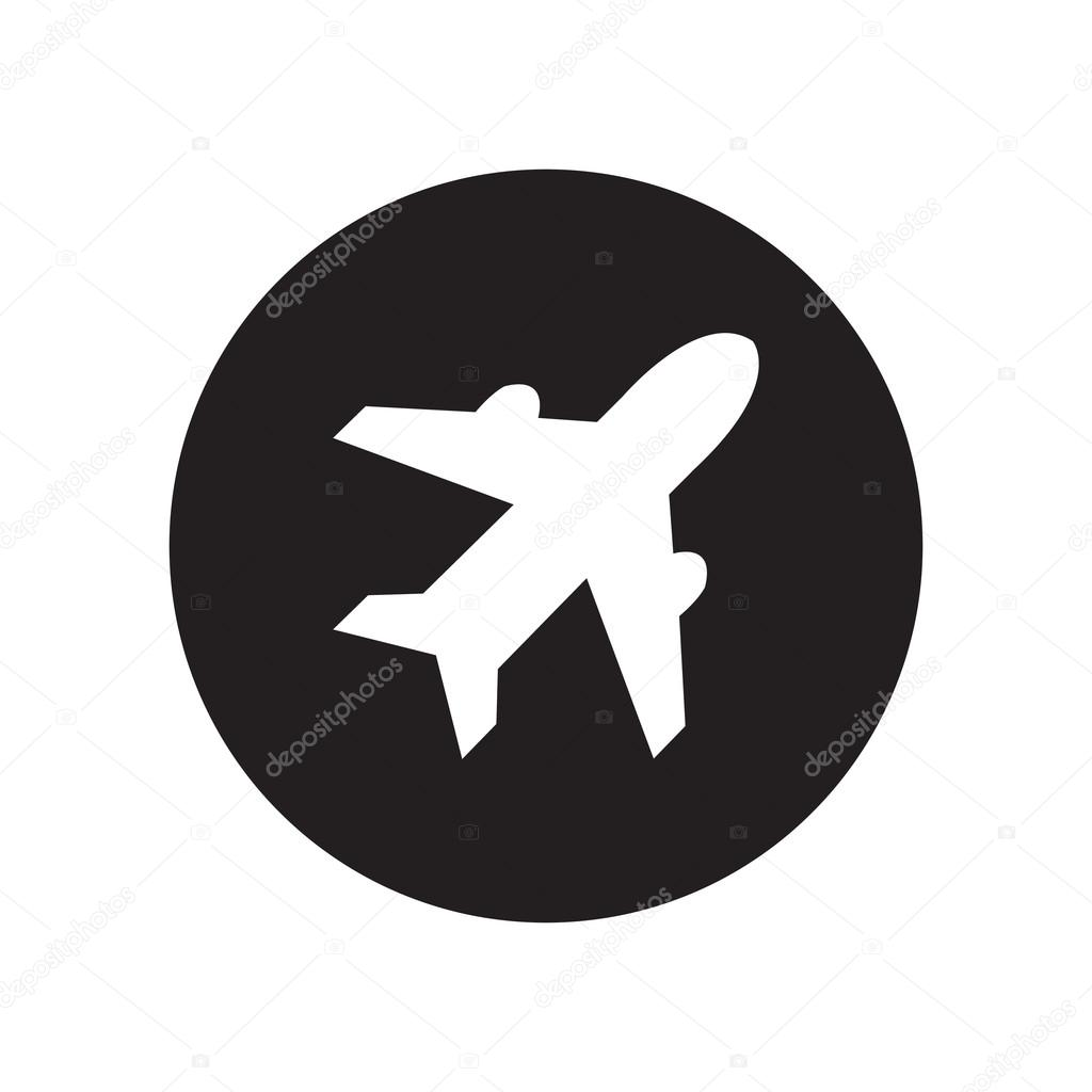 Black And White Airplane Sign Plane Symbol Travel Icon Flight Flat Label Classic Flat Icon Vector Stock Vector C Chortenya 83806874