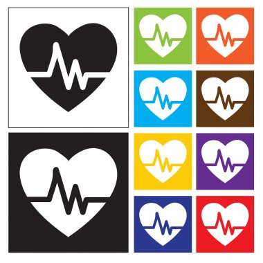 Heartbeat Echocardiography Cardiac exam Form of heart and heartbeat. square buttons Collection stock vector