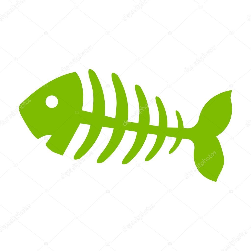 fish bone fish skeleton green icon stock vector chortenya rh depositphotos com