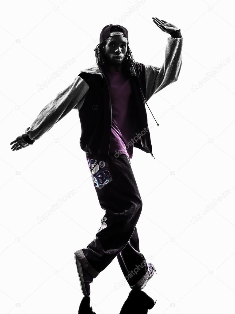 c903d07ff Hip hop acrobatic break dancer breakdancing young man silhouette — Stock  Photo
