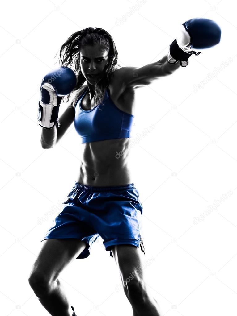 silueta de kickboxing de boxeo mujer boxeador aislado — Fotos de ...