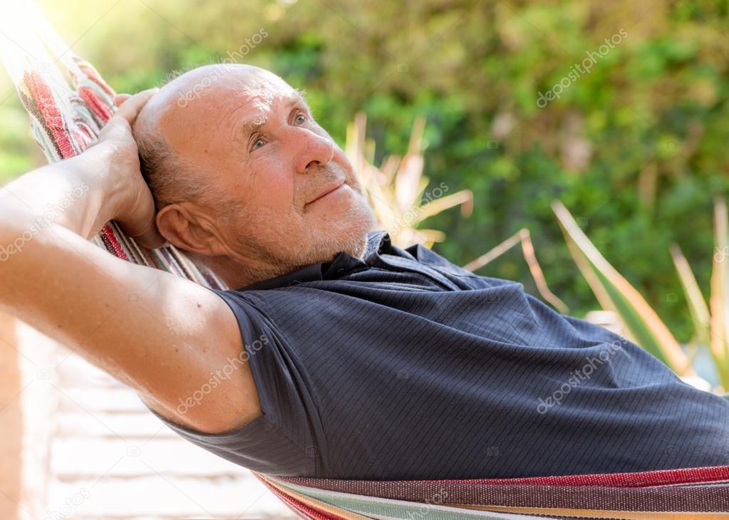 relaxing garden man