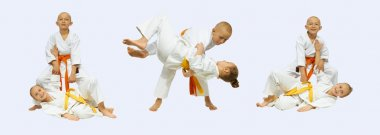 Judo throws are perfoming sportsmens in judogi collage