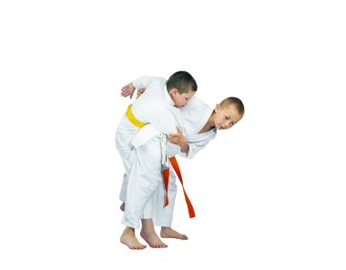 Judo techniques performed two athletes in judogi