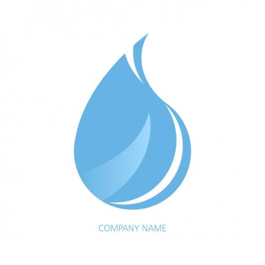 Vector logo, blue blob isolated on white background. Water drop, logo template. icon