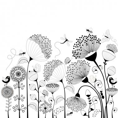 Black and white flowers