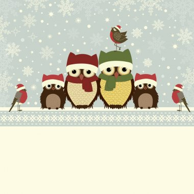 Christmas greeting card with family of owls