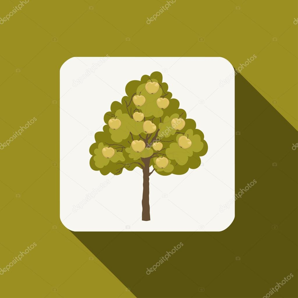 Apple tree icon with long shadow
