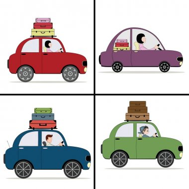 Four cartoon colored car with suitcases
