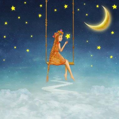 The lovely girl shakes on a swing , illustration art