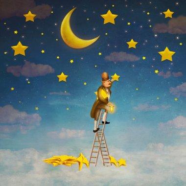 Man on a ladder reaching for  stars , illustration art