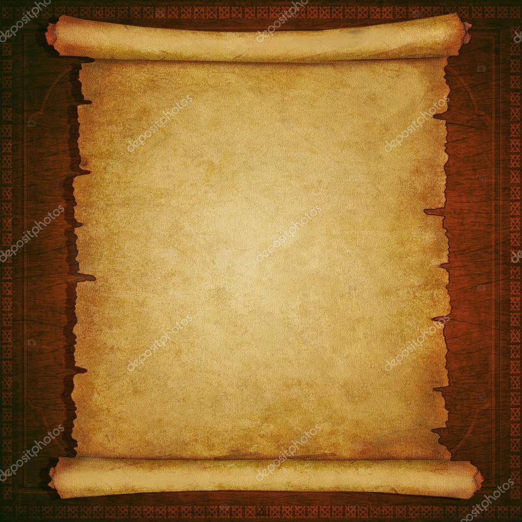 Antique Scroll Paper: Old Scroll Paper On Vintage Wooden Background