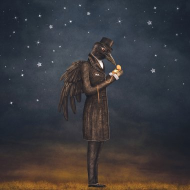 Raven at night looks at the watch , illustration art