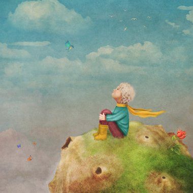 The Little Prince with a rose on a planet  in beautiful  sky ,illustration