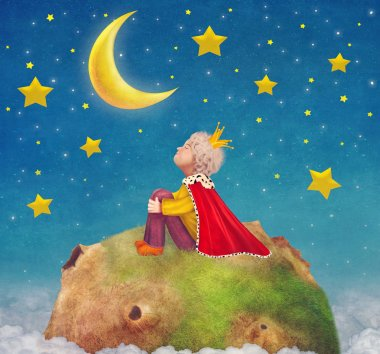 The Little Prince  on a planet  in beautiful night sky