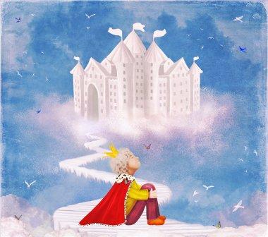 Little prince  on the bridge near the castle in beautiful sky