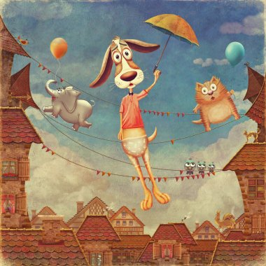 Fragment of a city . Sweet animals: dog with  umbrella, fish and  cat   in sky