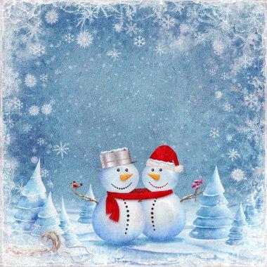Happy snowman friends