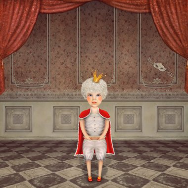 Illustration of a cute  king in  a vintage  room