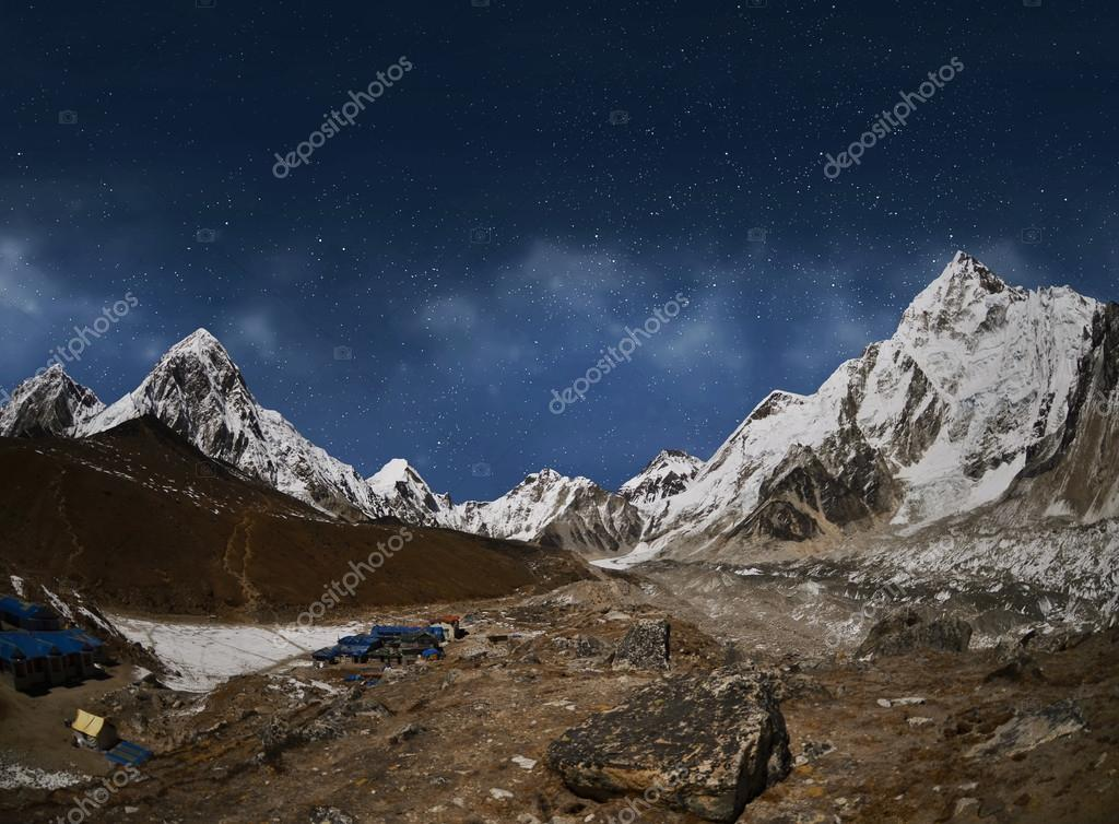 Himalaya mountain with star in night time,near Gorak Shep villag