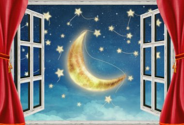 Illustration of a night view from a window