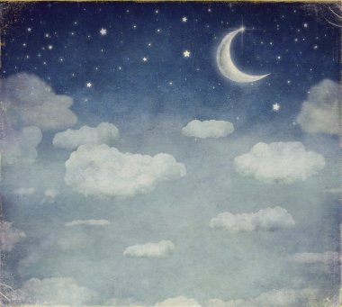 Illustration of a night sky with fantastic moon  and stars