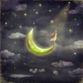 die Abbildung zeigt dem Mädchen, die den Sternenhimmel bewundert