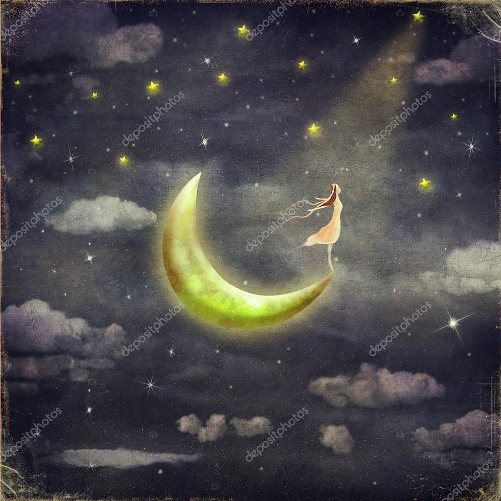 The illustration shows the girl who admires the star sky