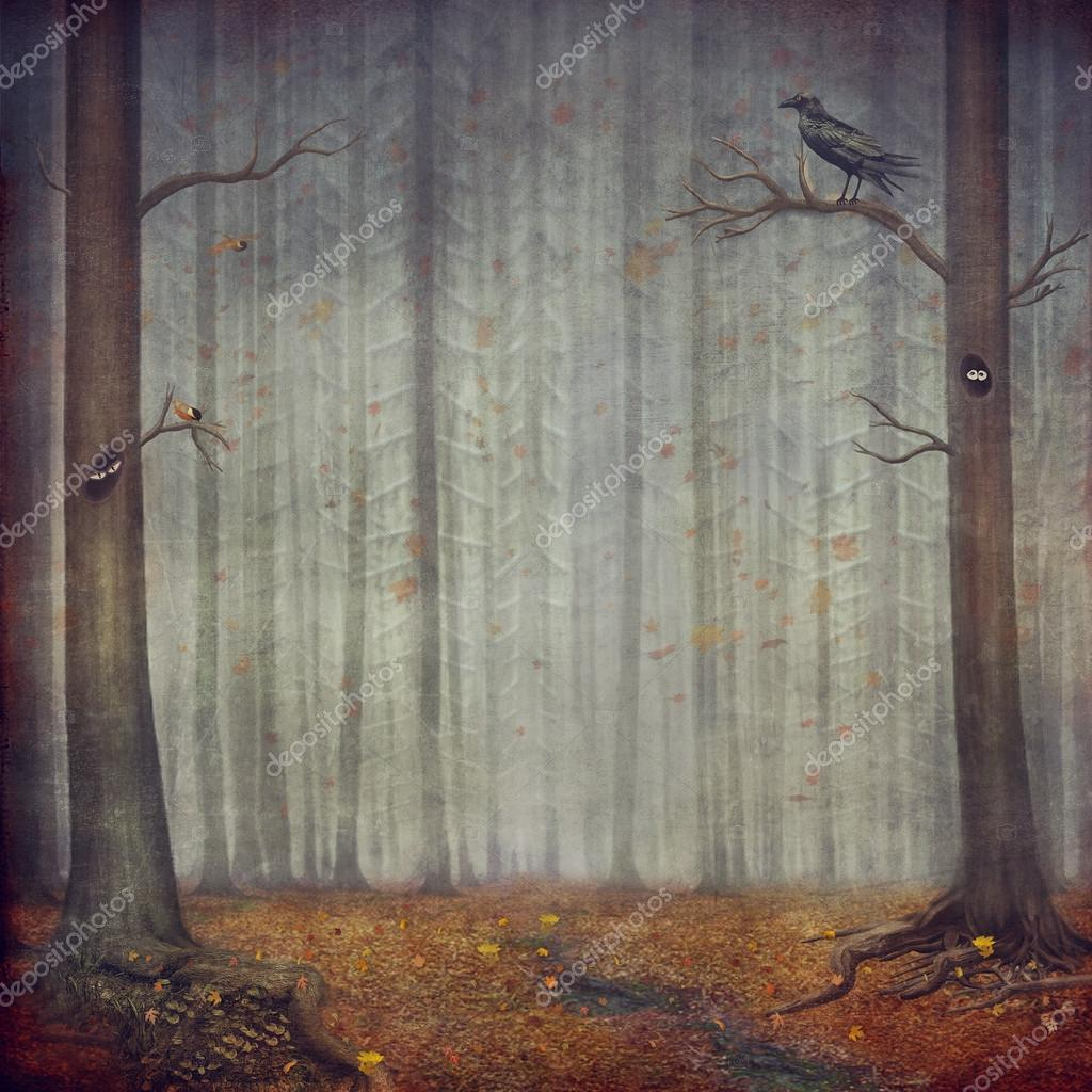 Autumn forest . Beautiful nature background