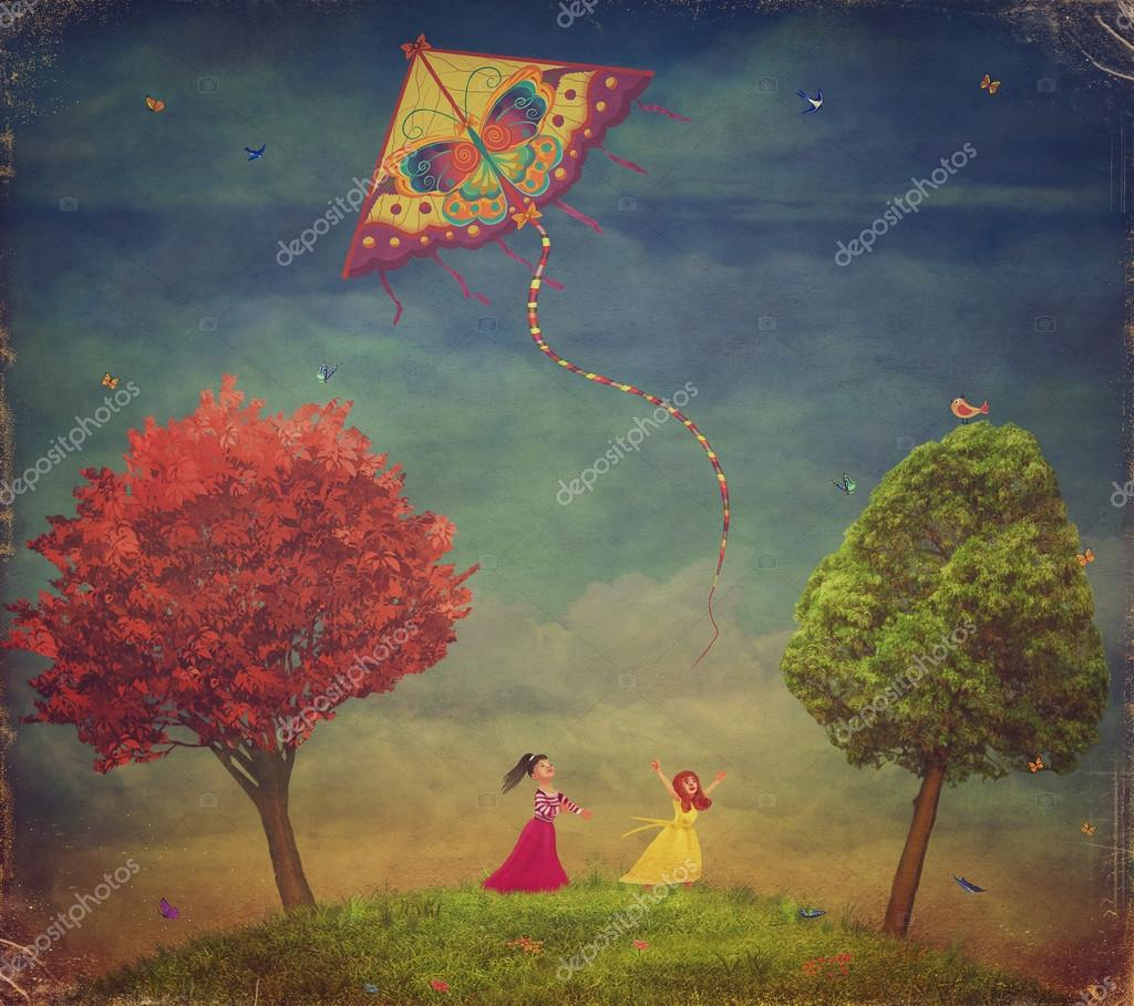Young girls  among   trees on the field  with the kite