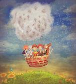 Fotografie Glückliche Kinder im Luftballon am Himmel - Illustration ar